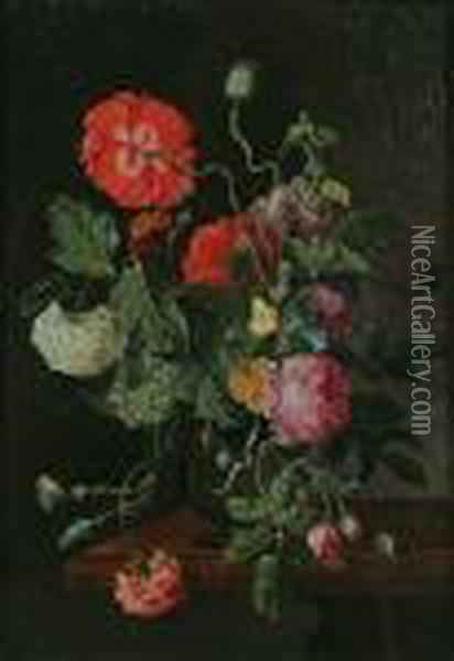 Still Life Of Flowers With Butterflies, A Ladybird And A Snail Oil Painting - Jan van Os