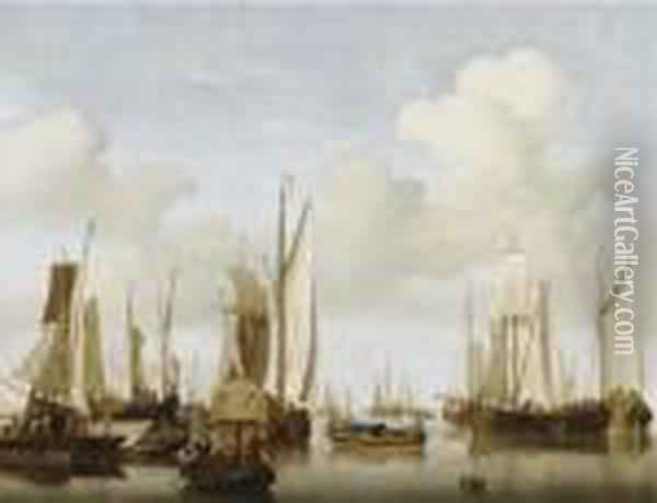 A Calm With Merchants In A Rowing Boat In The Foreground Oil Painting - Jan van Os
