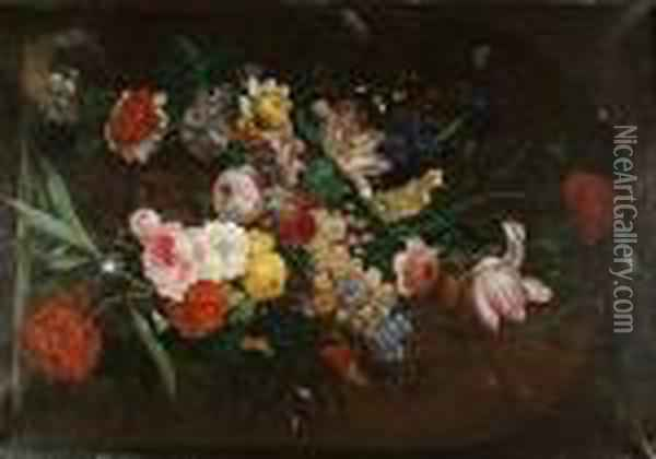Roses, Carnations, Tulips  Narcissi And Other Flowers In A Sculpted Urn On A Ledge With A Bird's  Nest Oil Painting - Jan van Os