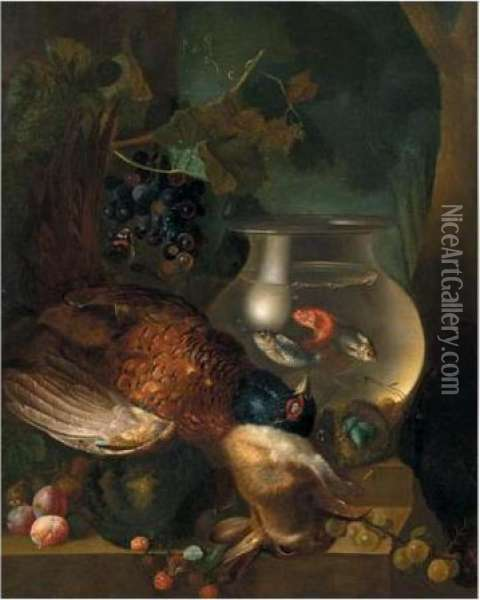 A Still Life Of A Pheasant, A  Rabbit, A Goldfish Bowl, A Bird's Nest, A Melon, Plums, Gooseberries And  Raspberries, All Arranged Upon A Stone Ledge Oil Painting - Jan van Os
