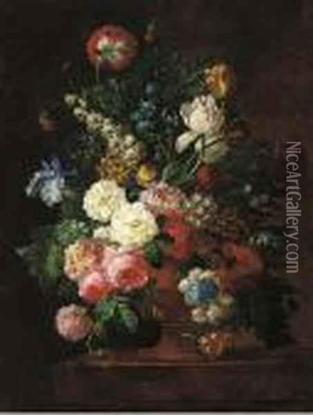 Roses, Irises, Tulips, And Other Flowers In A Stone Urn On Aledge Oil Painting - Jan van Os