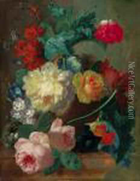 Flowers In A Terracotta Vase Oil Painting - Jan van Os