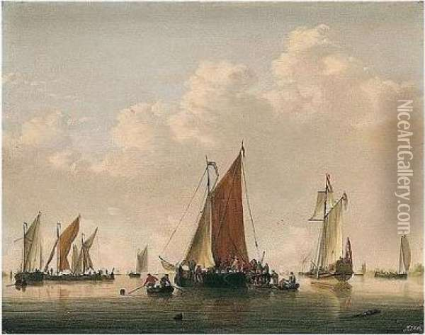 A Dutch Frigate And Light Shipping In A Calm, With Soldiers Boarding A Vessel Oil Painting - Jan van Os