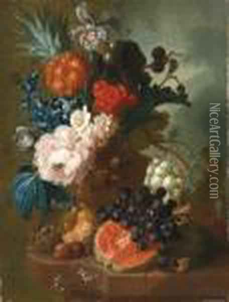 A Peony, An Iris, A Pineapple,  Blackberries, Narcissi And Otherflowers In A Terracotta Vase, With A  Bird's Nest, A Mouse, A Melon,grapes And Walnuts On A Ledge Oil Painting - Jan van Os