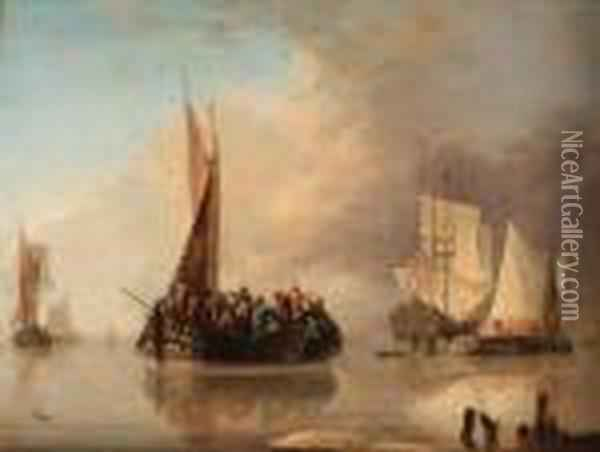 A Crowded Ferry Oil Painting - Jan van Os