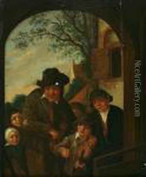 An Itinerant Musician With Children By A Door Oil Painting - Adriaen Jansz. Van Ostade