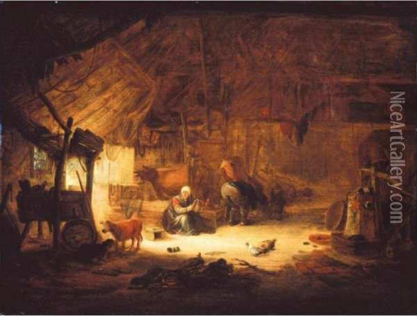 The Interior Of A Barn With Figures And Animals Oil Painting - Isaack Jansz. van Ostade