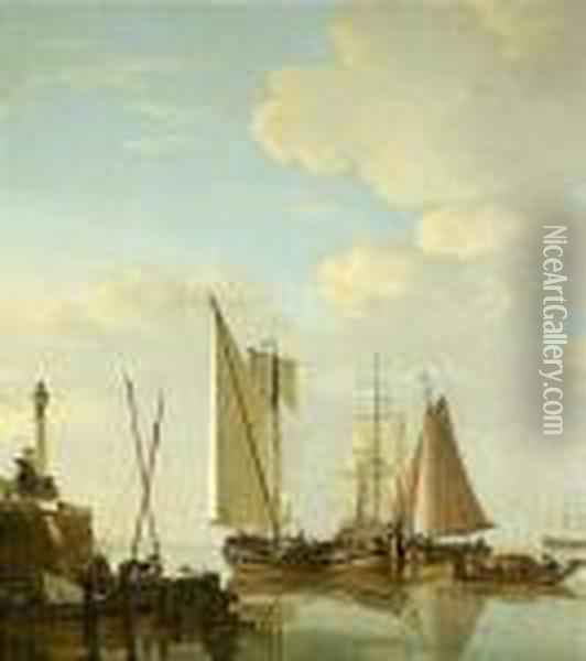 Two Boeiers And A Cat Under Sail With Other Smaller Vessels Oil Painting - Jacob Van Stry