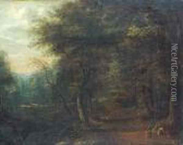 A Wooded Landscape With Travellers On A Track Oil Painting - Lucas Van Uden