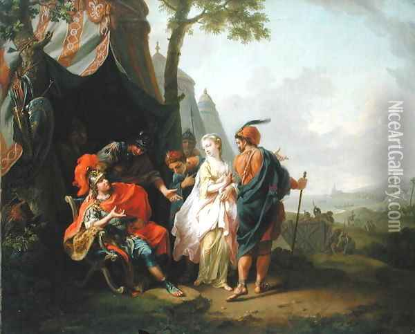 The Abduction of Briseis from the Tent of Achilles, 1773 Oil Painting - Johann Heinrich The Elder Tischbein