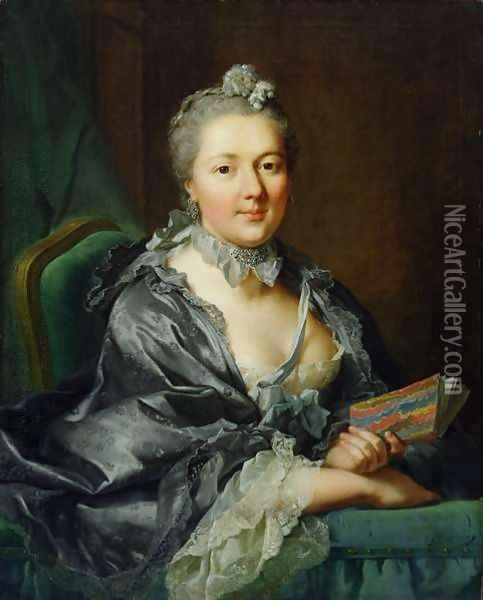 The Artists Second Wife, Julie Marianne Pernette, nee Robert, 1762 Oil Painting - Johann Heinrich The Elder Tischbein