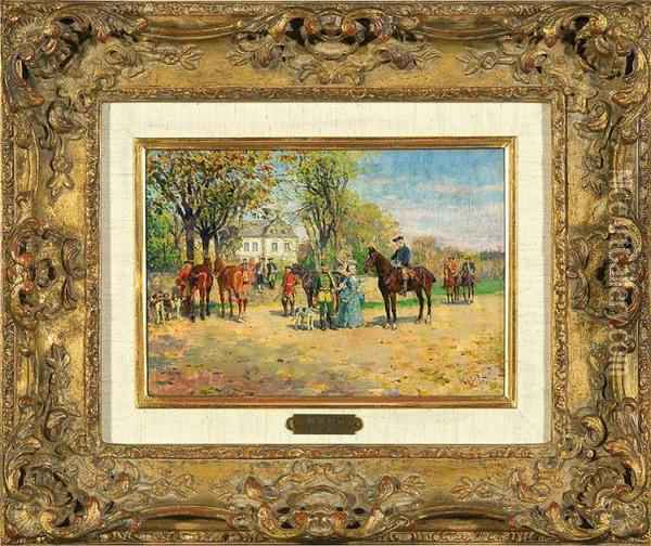 In The Park. Departure Of Thehunt Oil Painting - Wilhelm Velten