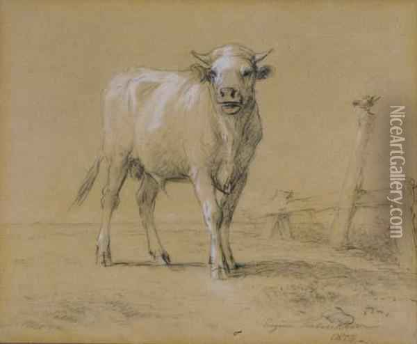 Young Bull And Rooster Out To Pasture Oil Painting - Eugene Joseph Verboeckhoven