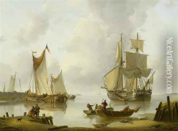 Sailing Boats Near A Beach Oil Painting - Louis Verboeckhoven