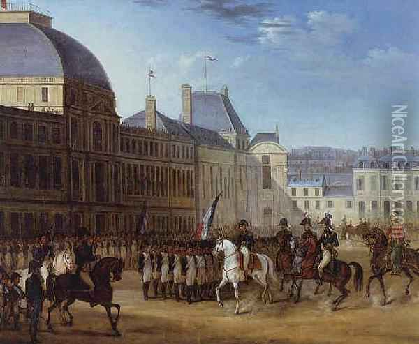 Napoleon Reviewing His Troops In The Courtyard Of The Louvre Oil Painting - Carle Vernet