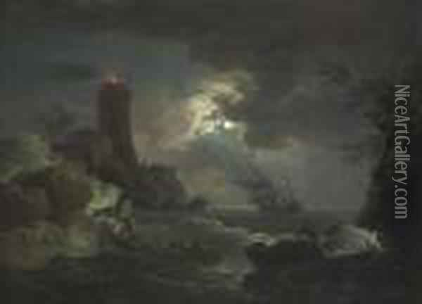 Shipwrecked Figures And Fishermen Bringing In Their Nets In A Storm, A Lighthouse Beyond Oil Painting - Claude-joseph Vernet