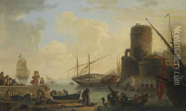 A Mediterranean Sea Port With  Sailors Letting Down The Anchor And Unloading The Cargo Of A Ship Oil Painting - Claude-joseph Vernet