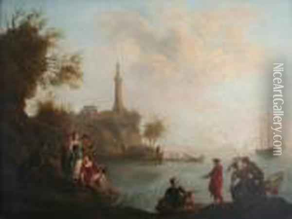Scene On The Coast With Fishermen By A Lighthouse Oil Painting - Claude-joseph Vernet