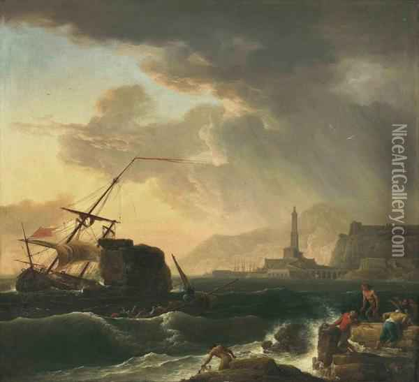 A Shipwreck With Figures Coming Ashore Oil Painting - Claude-joseph Vernet