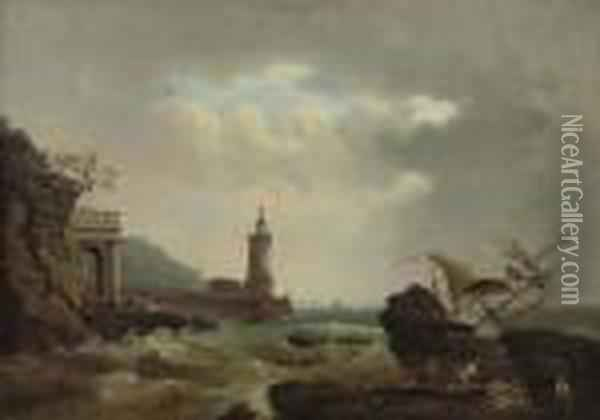 A Capriccio Of An Italian  Lighthouse, With A Vessel Wrecked On The Rocks And Rescuers On The  Foreshore Oil Painting - Claude-joseph Vernet