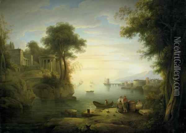 Ideal Southern Coastal Landscape At Dusk Oil Painting - Claude-joseph Vernet