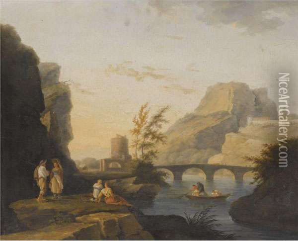 Landscape With Figures By A River And Fishermen Pulling Nets Oil Painting - Claude-joseph Vernet