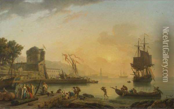 A Grand View Of The Sea Shore Oil Painting - Claude-joseph Vernet
