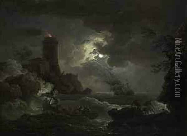 Shipwrecked Figures And Fishermen Bringing In Their Nets In Astorm, A Lighthouse Beyond Oil Painting - Claude-joseph Vernet