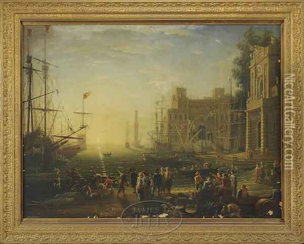Harbor View With Palace And Figures Oil Painting - Claude-joseph Vernet