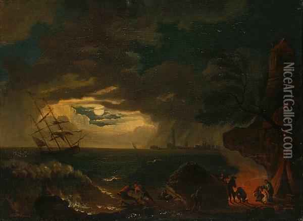 A Rocky Coastal Scene With Survivors Of Ashipwreck Taking Refuge Onshore Oil Painting - Claude-joseph Vernet