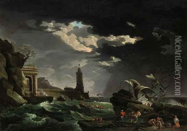 Shipwrecked Figures Off A Lighthouse In A Storm Oil Painting - Claude-joseph Vernet
