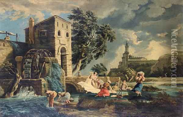 Washerwomen By A Watermill In An Open Landscape, With A Castle On The Horizon Oil Painting - Claude-joseph Vernet