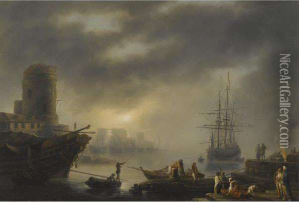 A Mediterranean Port With Sailors Unloading Cargo In The Foreground Oil Painting - Claude-joseph Vernet