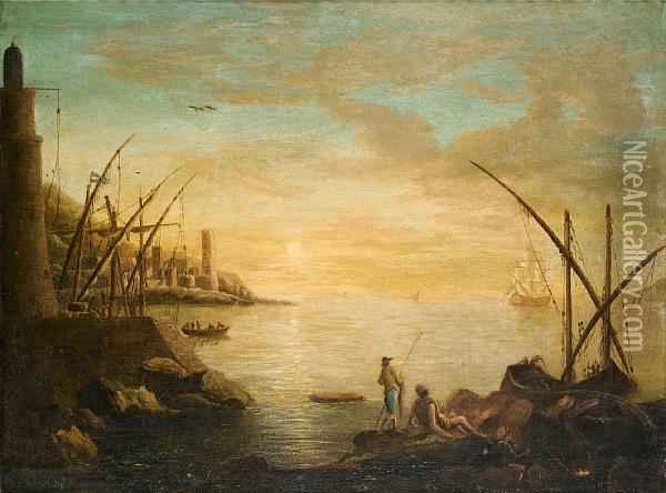 A Mediterranean Harbour At Sunset With Fishermen Resting On Rocks In The Foreground Oil Painting - Claude-joseph Vernet