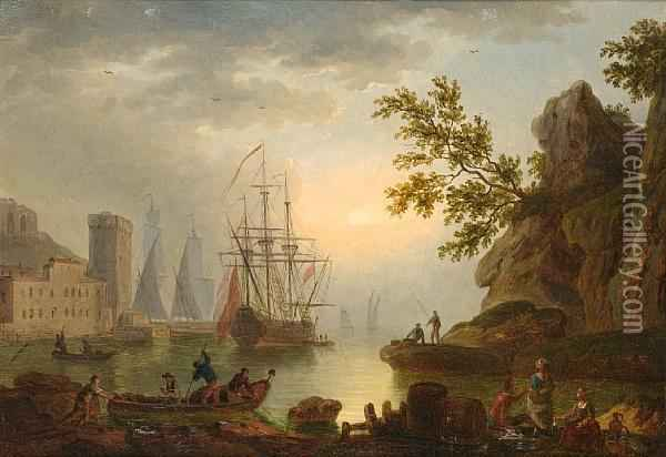Fishermen And Other Figures Resting On A Rock Oil Painting - Claude-joseph Vernet