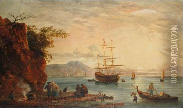 Figures On A Beach With Shipping In A Bay At Sunset Oil Painting - Claude-joseph Vernet