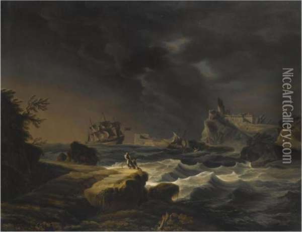 A Mediterranean Constal Scene With Ships On Stormy Seas Oil Painting - Claude-joseph Vernet