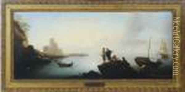 Fisherman Resting On The Rocks By The Bay Oil Painting - Claude-joseph Vernet