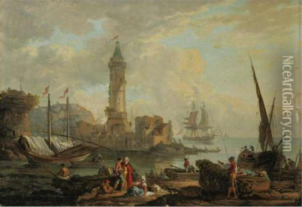 View Of A Harbor Oil Painting - Claude-joseph Vernet
