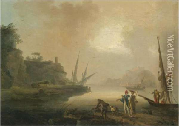 A Mediterranean Coastal Scene With Fishermen Unloading Their Catchin The Foreground Oil Painting - Claude-joseph Vernet