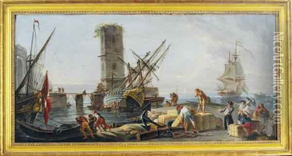 A Mediterranean Port With Figures On The Quay Oil Painting - Claude-joseph Vernet