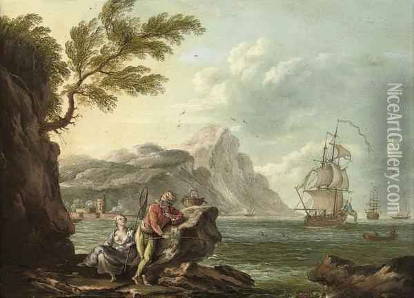 A Mediterranean Coastal Inlet With Figures On A Bank, Shippingbeyond Oil Painting - Claude-joseph Vernet