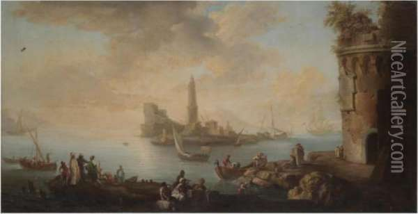 A Mediterranean Harbour Scene  With Figures Unloading Freight From Boats And Tradesmen In The  Foreground, A Lighthouse Beyond Oil Painting - Claude-joseph Vernet