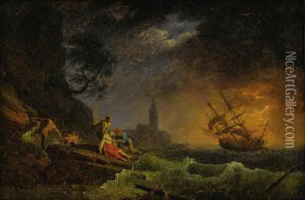 Shipwreck On Stormy Sea Oil Painting - Claude-joseph Vernet