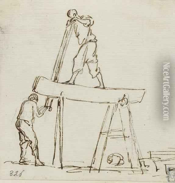 Two Men Pulling A Rope; And Two Men Sawing A Plank Oil Painting - Claude-joseph Vernet