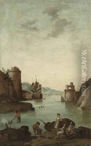 A Mediterranean Coastal Inlet  With A Fortified Town, Figures Fishing In The Foreground And A Ship  Beyond; And A Mediterranean Coastal Inlet With A Fortified Town, With  Figures Fishing And Disembarquing From A Boat In The Foreground And A  Ship Beyo Oil Painting - Claude-joseph Vernet