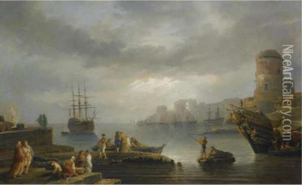 A Coastal Scene With Figures 