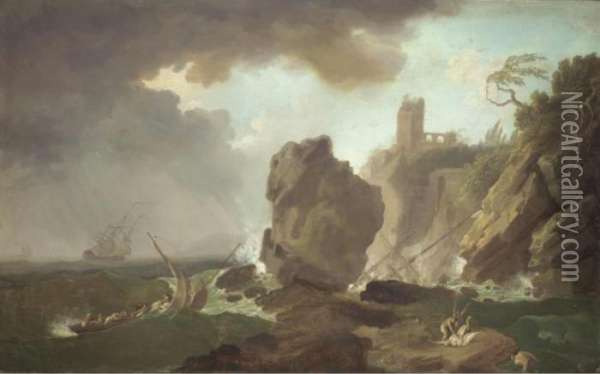 A Ship Being Wrecked Off A Mediterranean Coast Oil Painting - Claude-joseph Vernet