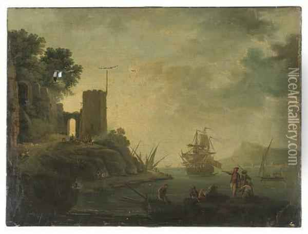 A Coastal Inlet With A Man-o' War And Fisherman, A Tower On The Bank Oil Painting - Claude-joseph Vernet