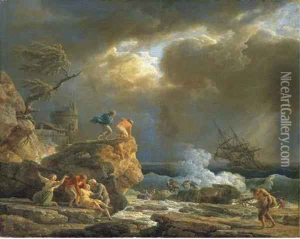 A Mediterranean Rocky Coastal  Landscape With Survivors From A Shipwreck, By A Fortified Tower Oil Painting - Claude-joseph Vernet